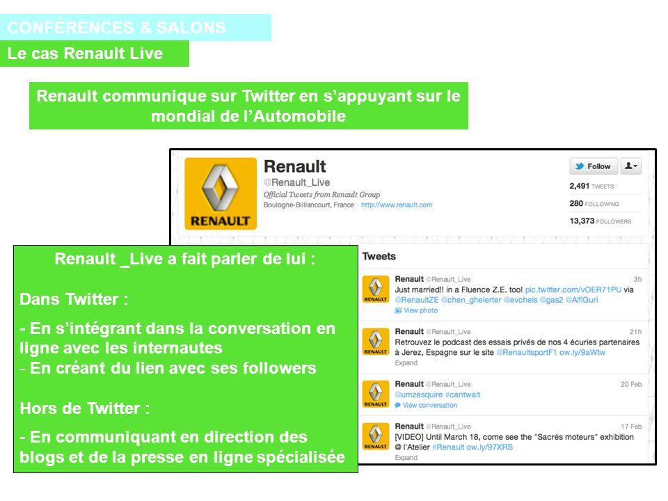 CONFÉRENCES & SALONS Le cas Renault Live Renault _Live a fait parler de lui : Dans Twitter : - En sintégrant dans la conversation en ligne avec les internautes - En créant du lien avec ses followers Hors de Twitter : - En communiquant en direction des blogs et de la presse en ligne spécialisée Renault communique sur Twitter en sappuyant sur le mondial de lAutomobile