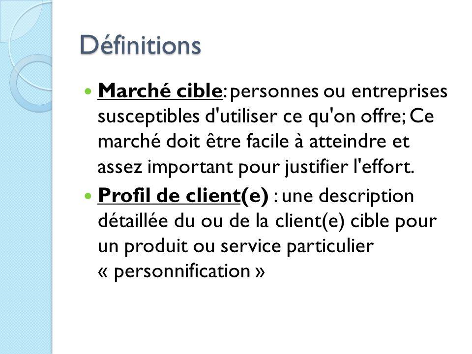 Définitions Marché cible: personnes ou entreprises susceptibles d'utiliser ce qu'on offre; Ce marché doit être facile à atteindre et assez important p