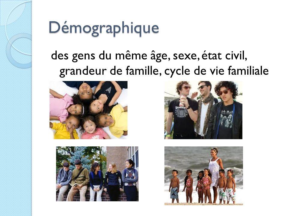 Démographique des gens du même âge, sexe, état civil, grandeur de famille, cycle de vie familiale