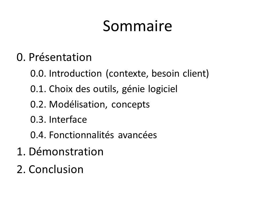 Sommaire 0. Présentation 0.0. Introduction (contexte, besoin client) 0.1. Choix des outils, génie logiciel 0.2. Modélisation, concepts 0.3. Interface