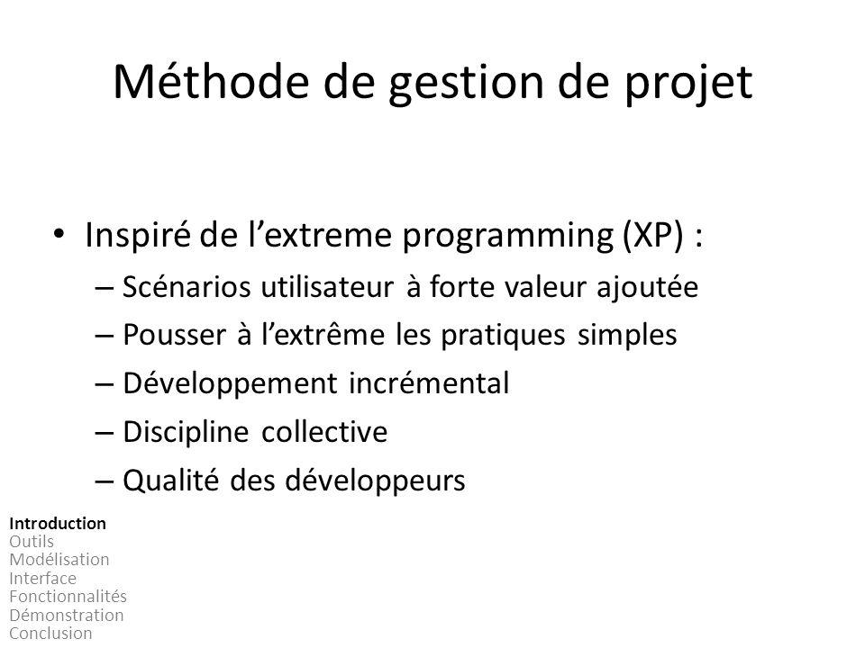 Méthode de gestion de projet Inspiré de lextreme programming (XP) : – Scénarios utilisateur à forte valeur ajoutée – Pousser à lextrême les pratiques