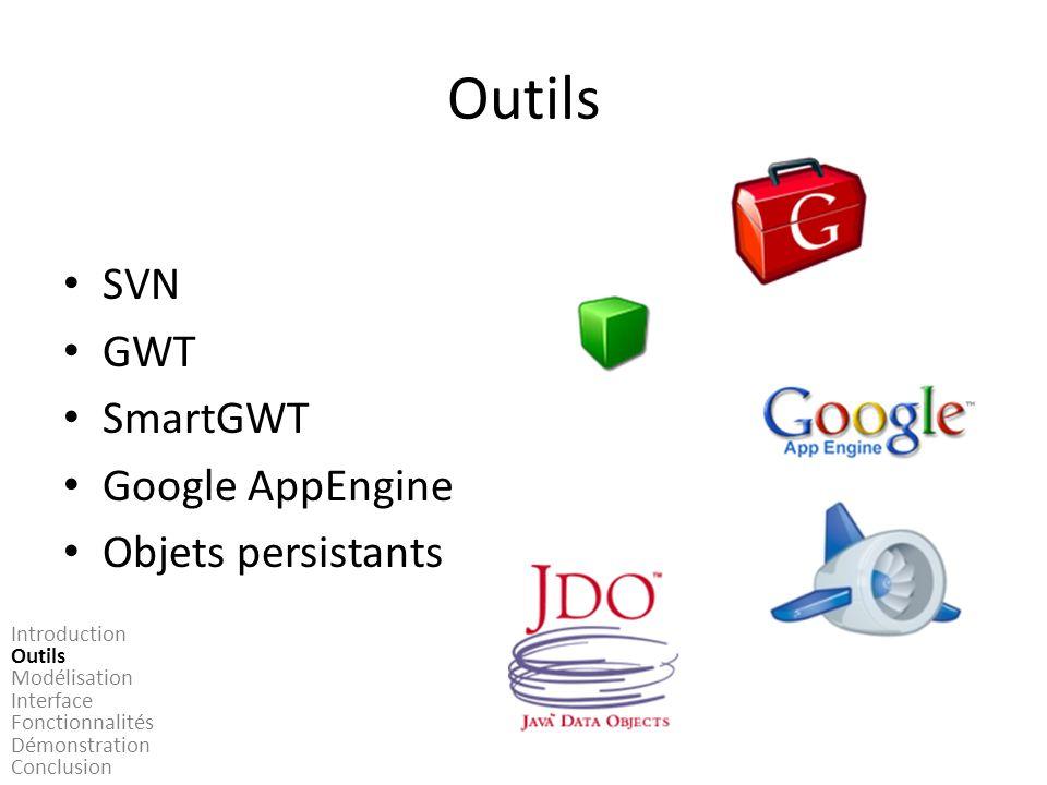 Outils SVN GWT SmartGWT Google AppEngine Objets persistants Introduction Outils Modélisation Interface Fonctionnalités Démonstration Conclusion