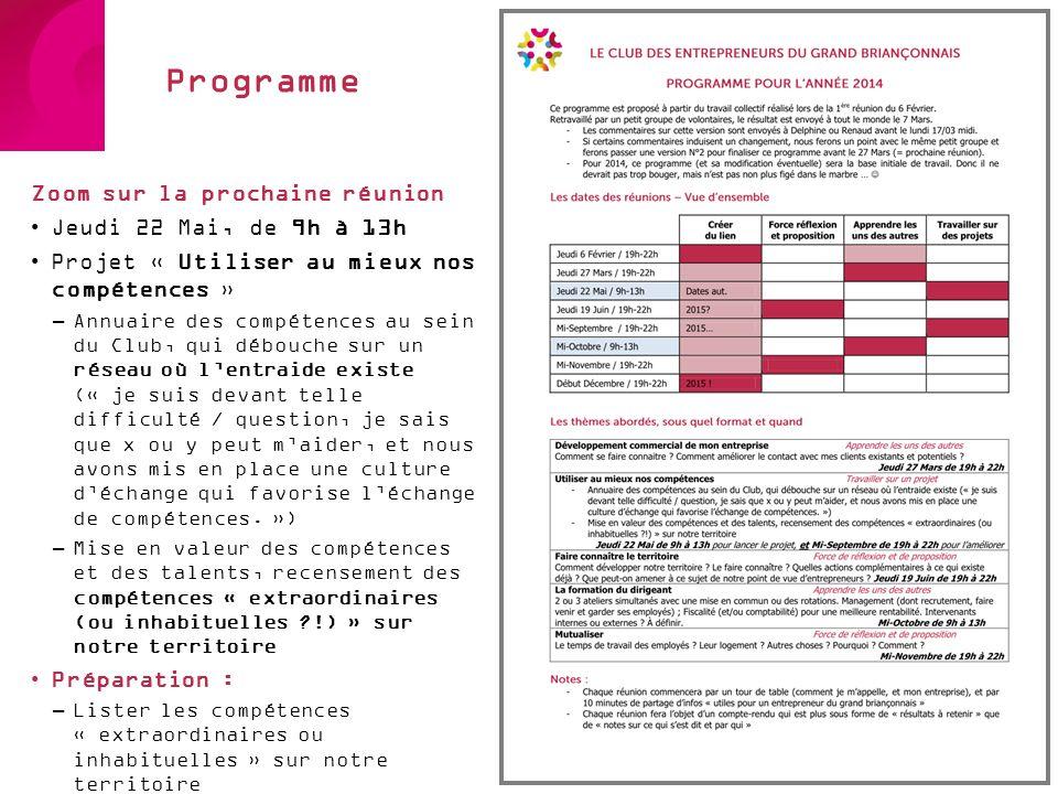 Programme Zoom sur la prochaine réunion Jeudi 22 Mai, de 9h à 13h Projet « Utiliser au mieux nos compétences » –Annuaire des compétences au sein du Cl