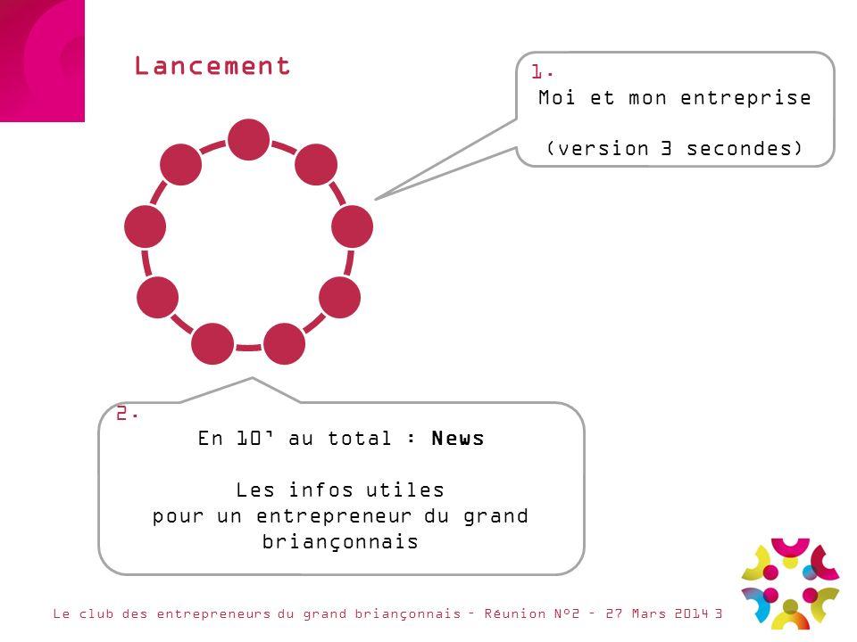 Lancement Le club des entrepreneurs du grand briançonnais – Réunion N°2 – 27 Mars 20143 1. Moi et mon entreprise (version 3 secondes) 2. En 10 au tota