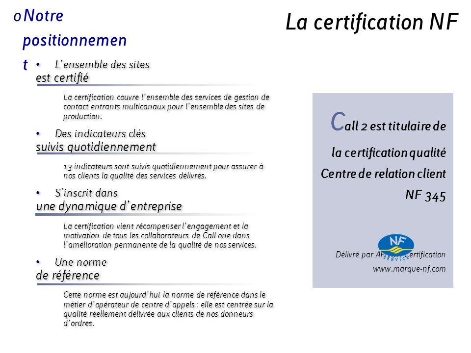 La certification NF Lensemble des sites est certifié La certification couvre lensemble des services de gestion de contact entrants multicanaux pour le