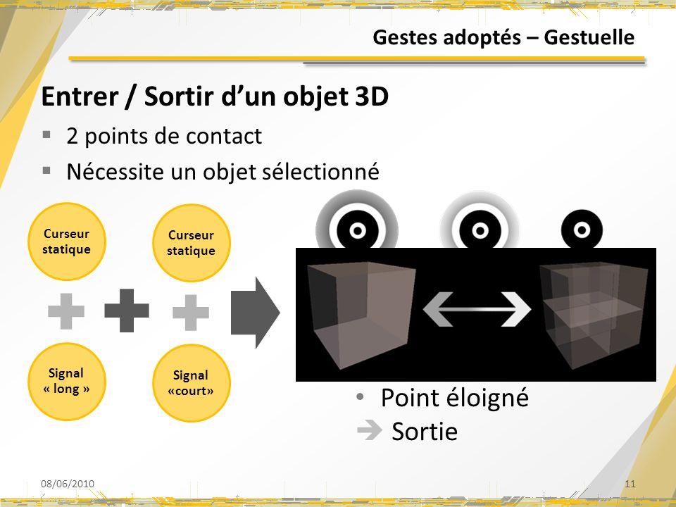 Curseur statique Signal « long » Gestes adoptés – Gestuelle Entrer / Sortir dun objet 3D 2 points de contact Nécessite un objet sélectionné 08/06/2010