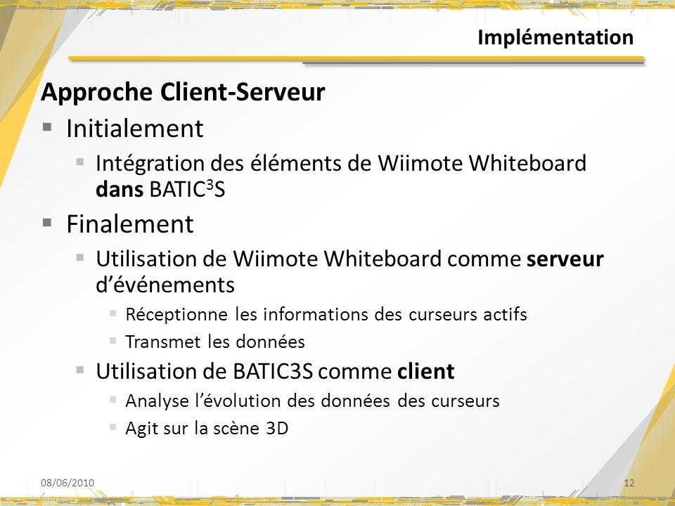Implémentation Approche Client-Serveur Initialement Intégration des éléments de Wiimote Whiteboard dans BATIC 3 S Finalement Utilisation de Wiimote Wh