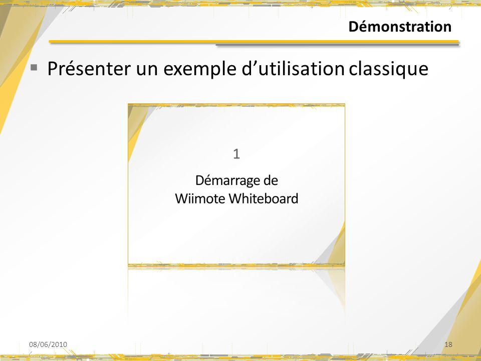 Démonstration Présenter un exemple dutilisation classique 08/06/201018