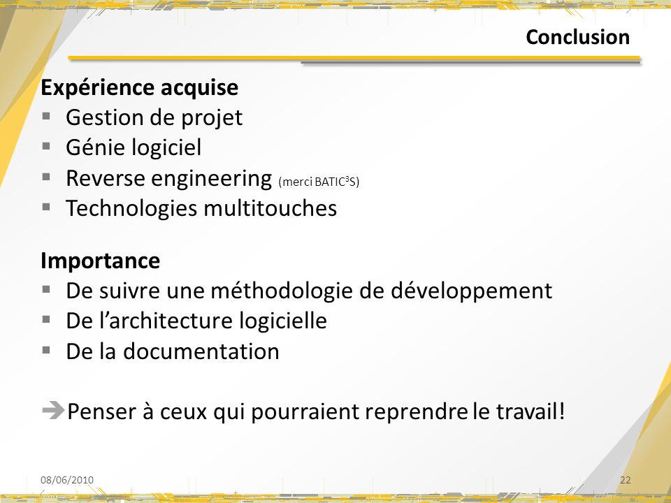 Conclusion Expérience acquise Gestion de projet Génie logiciel Reverse engineering (merci BATIC 3 S) Technologies multitouches Importance De suivre un