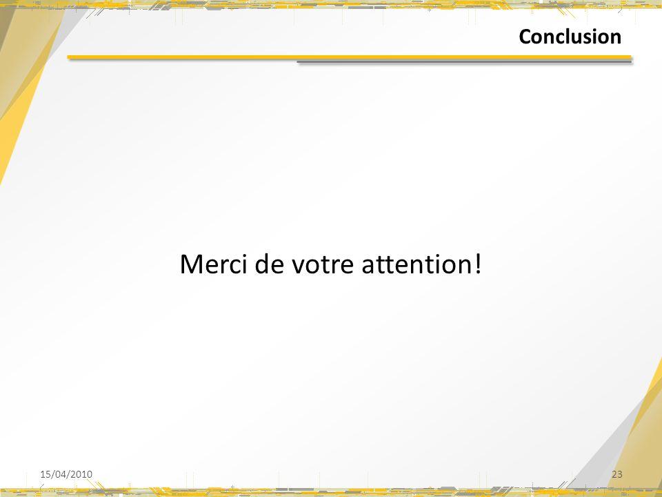 Conclusion Merci de votre attention! 15/04/201023