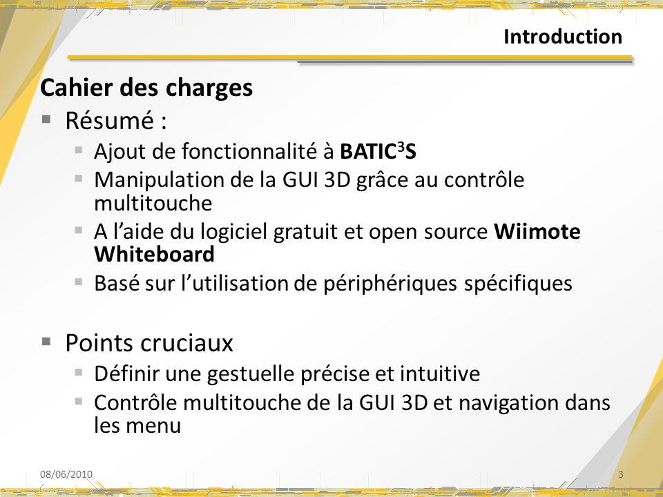 Introduction Cahier des charges Résumé : Ajout de fonctionnalité à BATIC 3 S Manipulation de la GUI 3D grâce au contrôle multitouche A laide du logici
