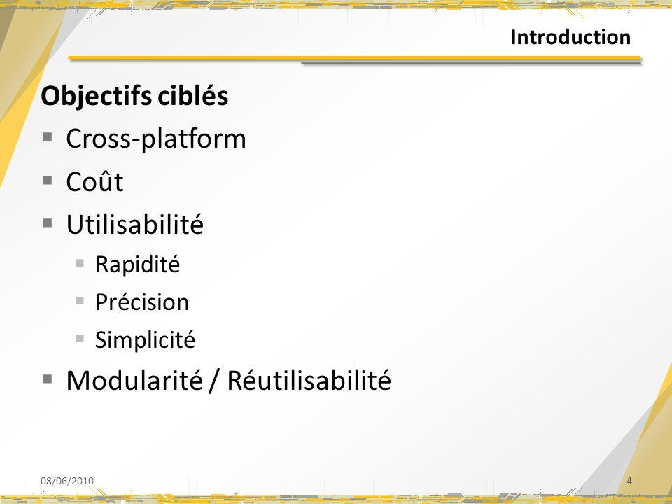 Introduction Objectifs ciblés Cross-platform Coût Utilisabilité Rapidité Précision Simplicité Modularité / Réutilisabilité 08/06/20104