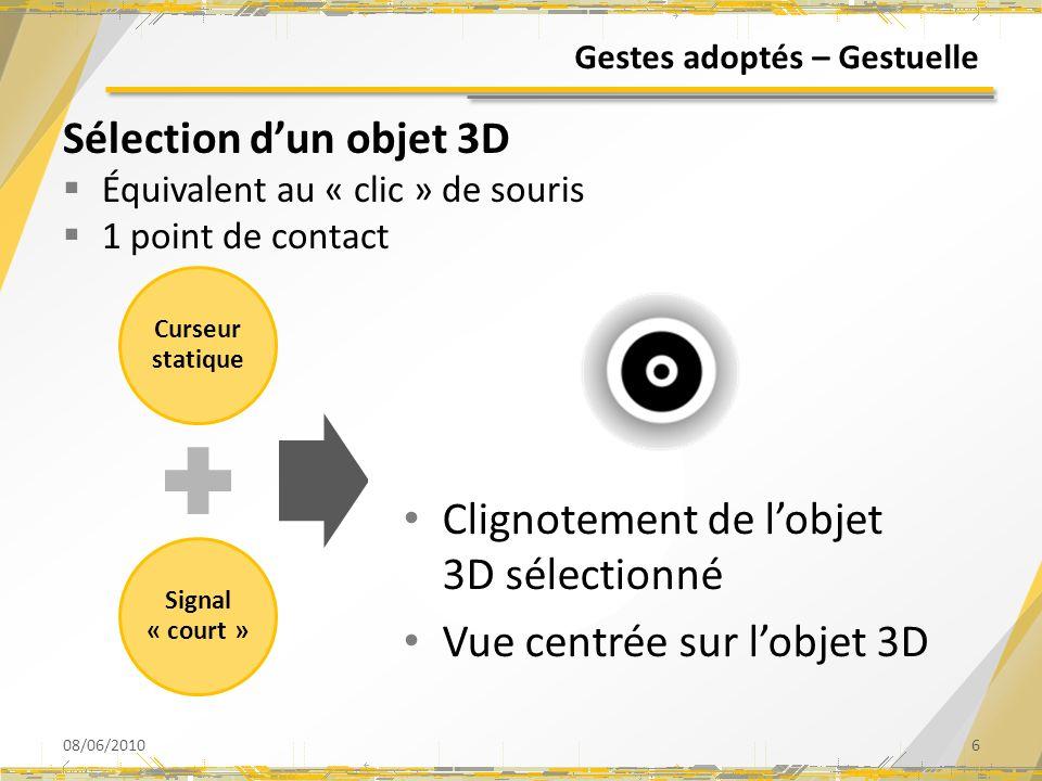 Gestes adoptés – Gestuelle Sélection dun objet 3D Équivalent au « clic » de souris 1 point de contact 08/06/20106 Curseur statique Signal « court » Cl