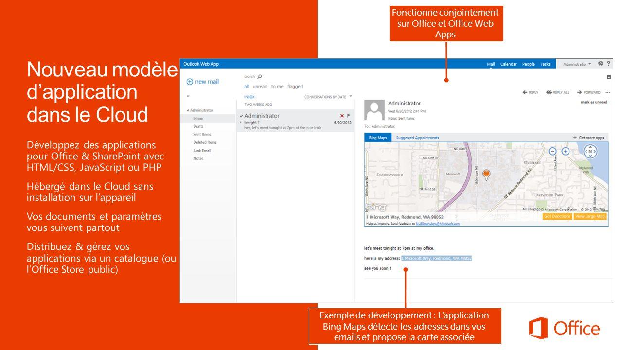 Exemple de développement : Lapplication Bing Maps dans Excel localise dans une carte les adresses sélectionnées Exemple de développement : Lapplicatio