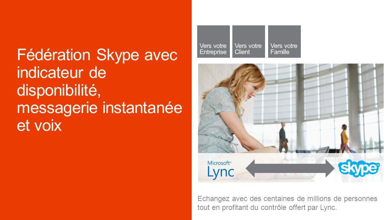 Echangez avec des centaines de millions de personnes tout en profitant du contrôle offert par Lync.