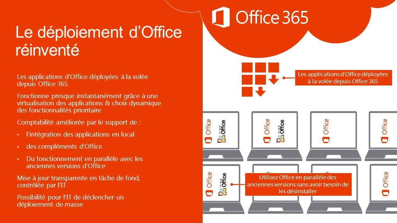 Les applications dOffice déployées à la volée depuis Office 365 Fonctionne presque instantanément grâce à une virtualisation des applications & choix