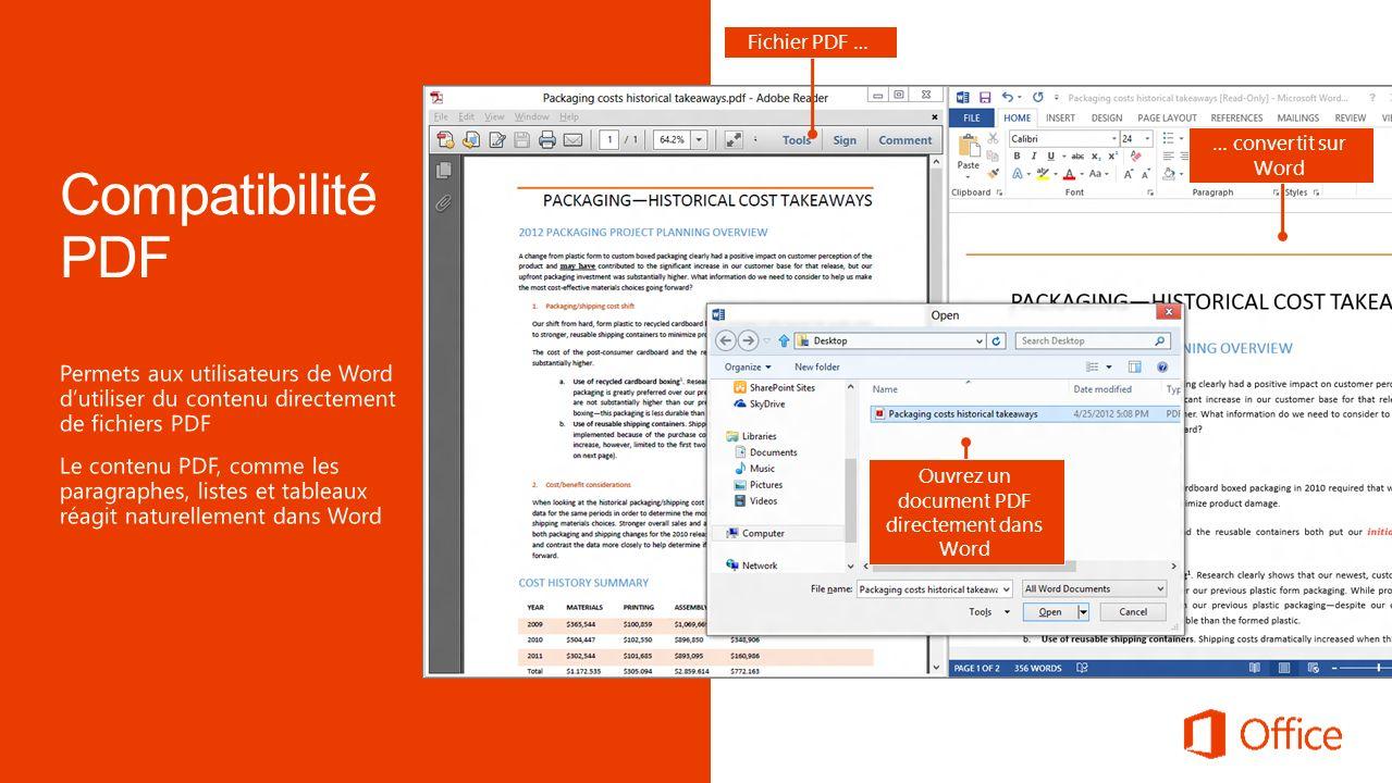 Fichier PDF … … convertit sur Word Ouvrez un document PDF directement dans Word