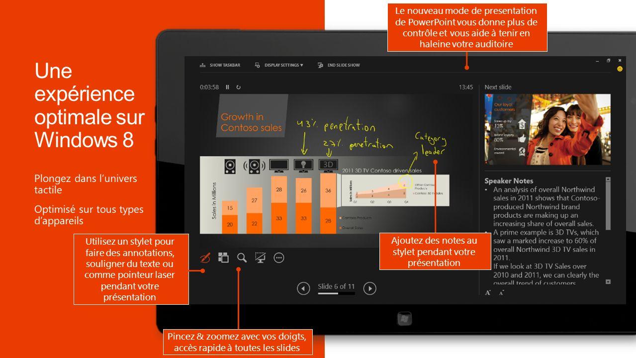 Ajoutez des notes au stylet pendant votre présentation Le nouveau mode de presentation de PowerPoint vous donne plus de contrôle et vous aide à tenir en haleine votre auditoire Pincez & zoomez avec vos doigts, accès rapide à toutes les slides Utilisez un stylet pour faire des annotations, souligner du texte ou comme pointeur laser pendant votre présentation