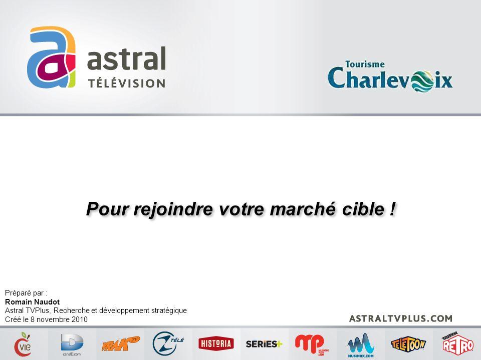 Pour rejoindre votre marché cible ! Préparé par : Romain Naudot Astral TVPlus, Recherche et développement stratégique Créé le 8 novembre 2010