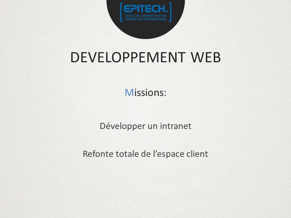 DEVELOPPEMENT WEB Missions: Développer un intranet Refonte totale de lespace client