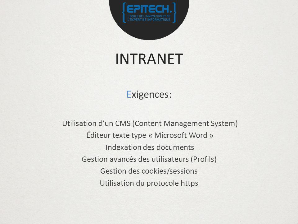 INTRANET Exigences: Utilisation dun CMS (Content Management System) Éditeur texte type « Microsoft Word » Indexation des documents Gestion avancés des utilisateurs (Profils) Gestion des cookies/sessions Utilisation du protocole https