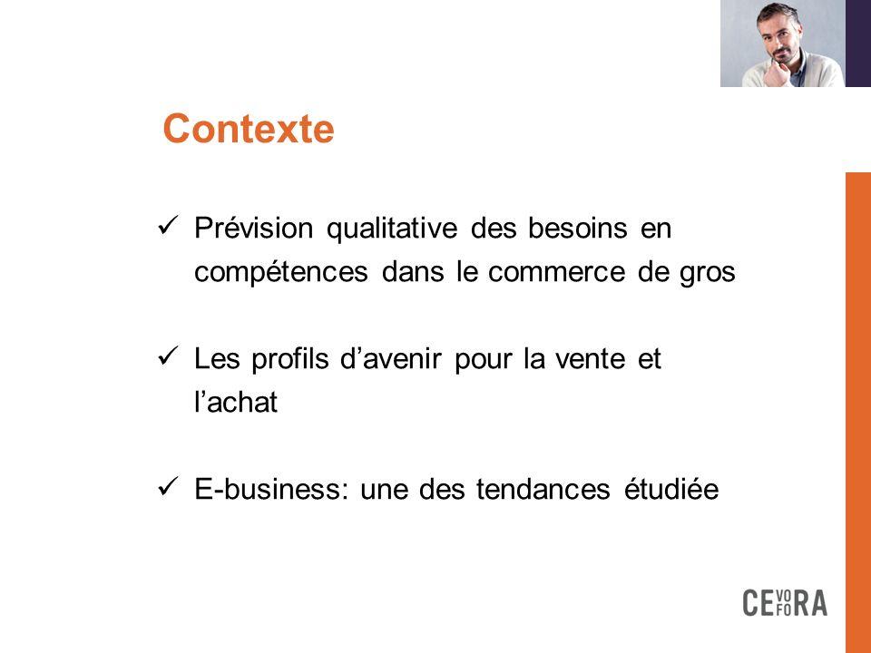 Contexte Prévision qualitative des besoins en compétences dans le commerce de gros Les profils davenir pour la vente et lachat E-business: une des ten