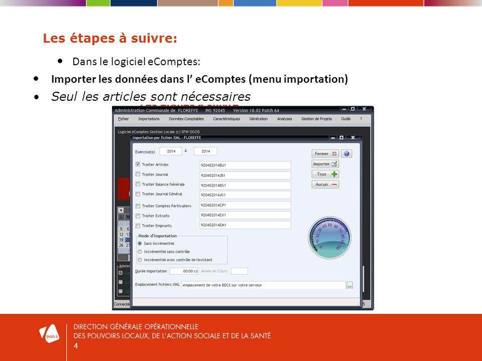 4 Les étapes à suivre: Dans le logiciel eComptes: Importer les données dans l eComptes (menu importation) Seul les articles sont nécessaires