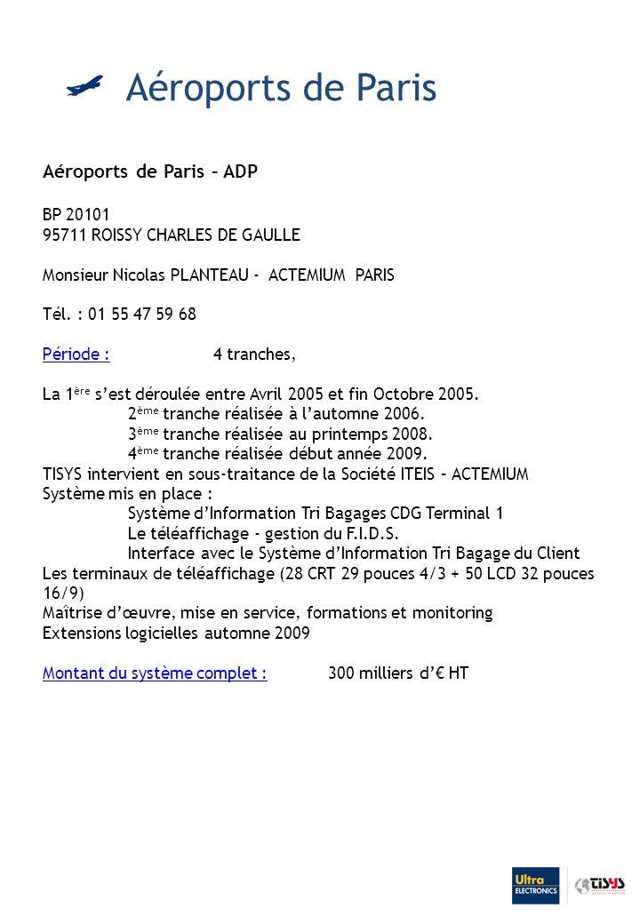 Aéroports de Paris – ADP BP 20101 95711 ROISSY CHARLES DE GAULLE Monsieur Nicolas PLANTEAU - ACTEMIUM PARIS Tél.