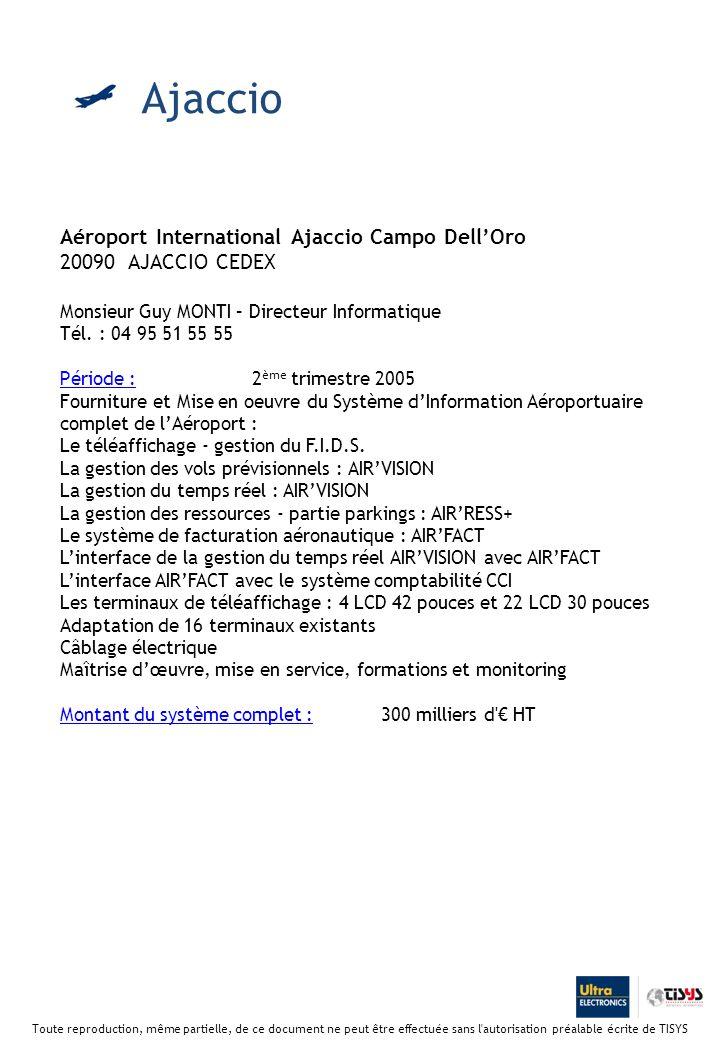 Aéroport International Ajaccio Campo DellOro 20090 AJACCIO CEDEX Monsieur Guy MONTI – Directeur Informatique Tél.