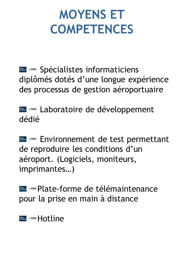 MOYENS ET COMPETENCES Spécialistes informaticiens diplômés dotés dune longue expérience des processus de gestion aéroportuaire Laboratoire de développement dédié Environnement de test permettant de reproduire les conditions dun aéroport.