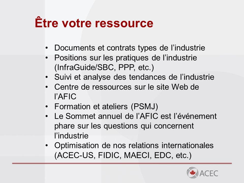 Être votre ressource Documents et contrats types de lindustrie Positions sur les pratiques de lindustrie (InfraGuide/SBC, PPP, etc.) Suivi et analyse des tendances de lindustrie Centre de ressources sur le site Web de lAFIC Formation et ateliers (PSMJ) Le Sommet annuel de lAFIC est lévénement phare sur les questions qui concernent lindustrie Optimisation de nos relations internationales (ACEC-US, FIDIC, MAECI, EDC, etc.)