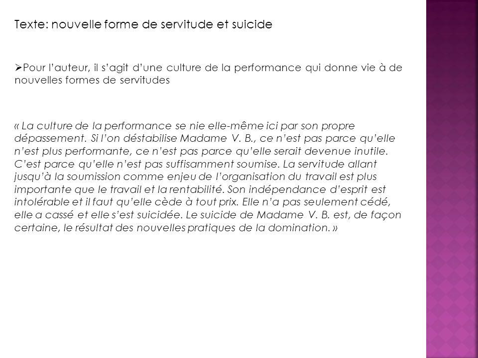 Texte: nouvelle forme de servitude et suicide Pour lauteur, il sagit dune culture de la performance qui donne vie à de nouvelles formes de servitudes « La culture de la performance se nie elle-même ici par son propre dépassement.