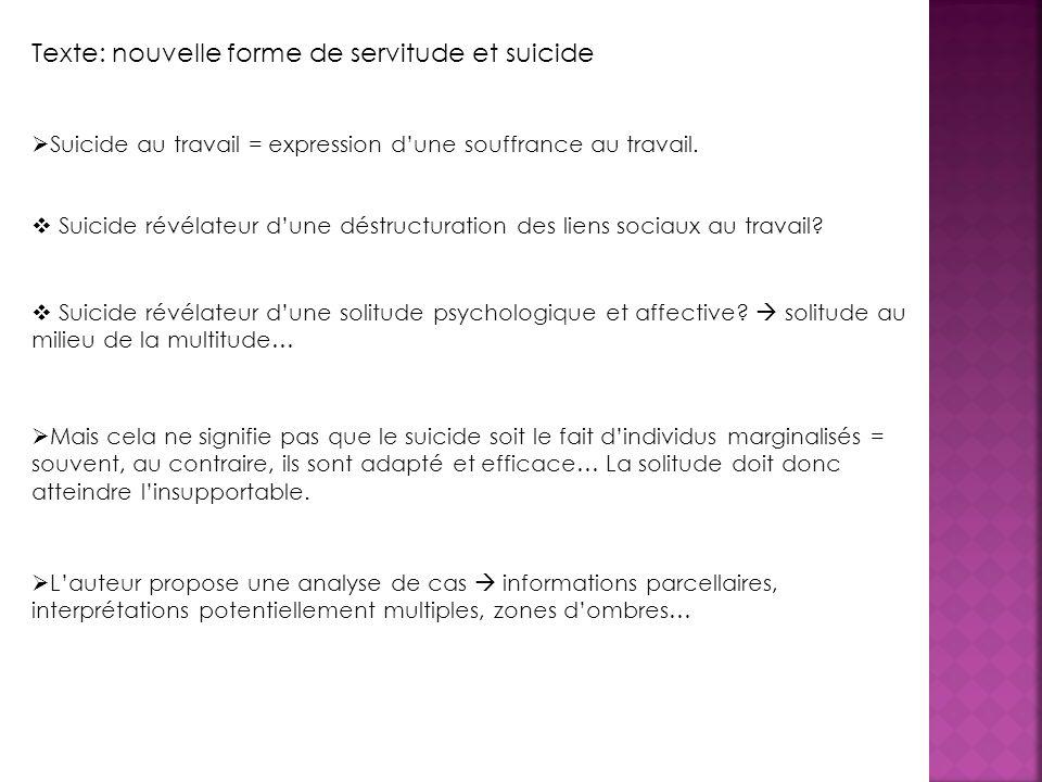 Suicide au travail = expression dune souffrance au travail.