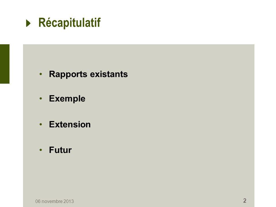 Récapitulatif Rapports existants Exemple Extension Futur 06 novembre 2013 2