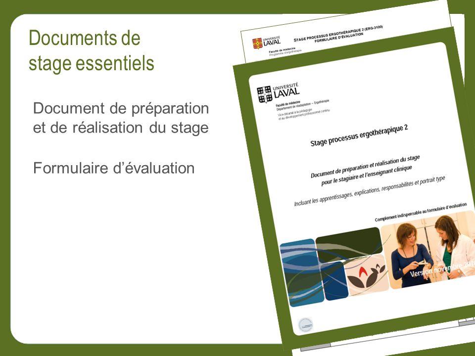 Document de préparation et de réalisation du stage Formulaire dévaluation