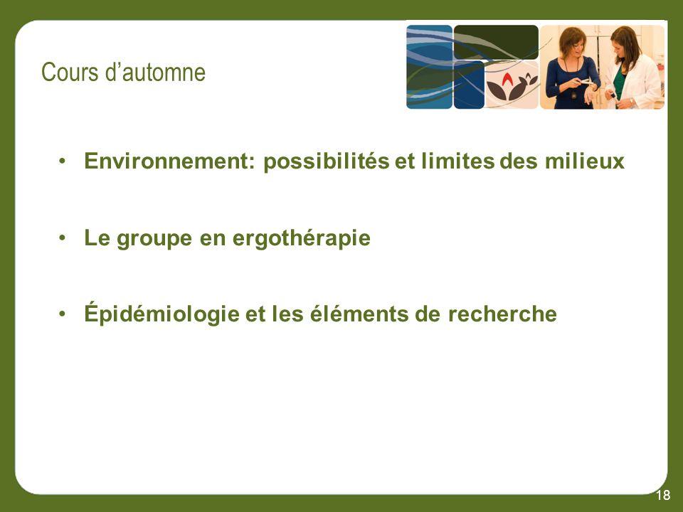 Environnement: possibilités et limites des milieux Le groupe en ergothérapie Épidémiologie et les éléments de recherche 18 Cours dautomne