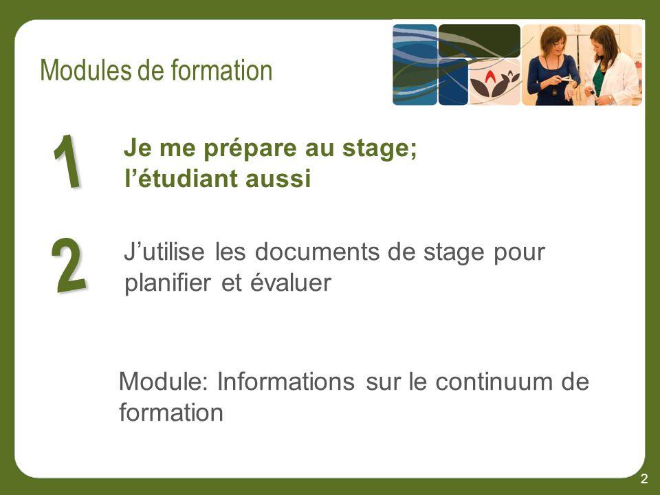 2 Je me prépare au stage; létudiant aussi 1 2 Jutilise les documents de stage pour planifier et évaluer Module: Informations sur le continuum de formation