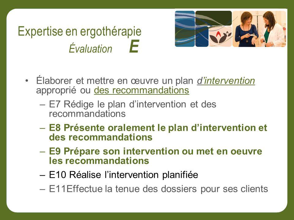 Élaborer et mettre en œuvre un plan dintervention approprié ou des recommandations –E7 Rédige le plan dintervention et des recommandations –E8 Présente oralement le plan dintervention et des recommandations –E9 Prépare son intervention ou met en oeuvre les recommandations –E10 Réalise lintervention planifiée –E11Effectue la tenue des dossiers pour ses clients Évaluation E