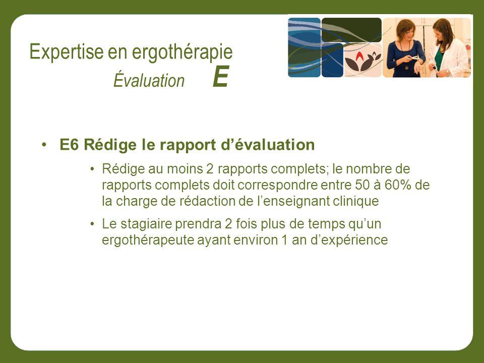 E6 Rédige le rapport dévaluation Rédige au moins 2 rapports complets; le nombre de rapports complets doit correspondre entre 50 à 60% de la charge de rédaction de lenseignant clinique Le stagiaire prendra 2 fois plus de temps quun ergothérapeute ayant environ 1 an dexpérience Évaluation E