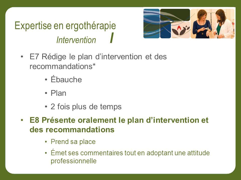 E7 Rédige le plan dintervention et des recommandations* Ébauche Plan 2 fois plus de temps E8 Présente oralement le plan dintervention et des recommandations Prend sa place Émet ses commentaires tout en adoptant une attitude professionnelle Intervention I