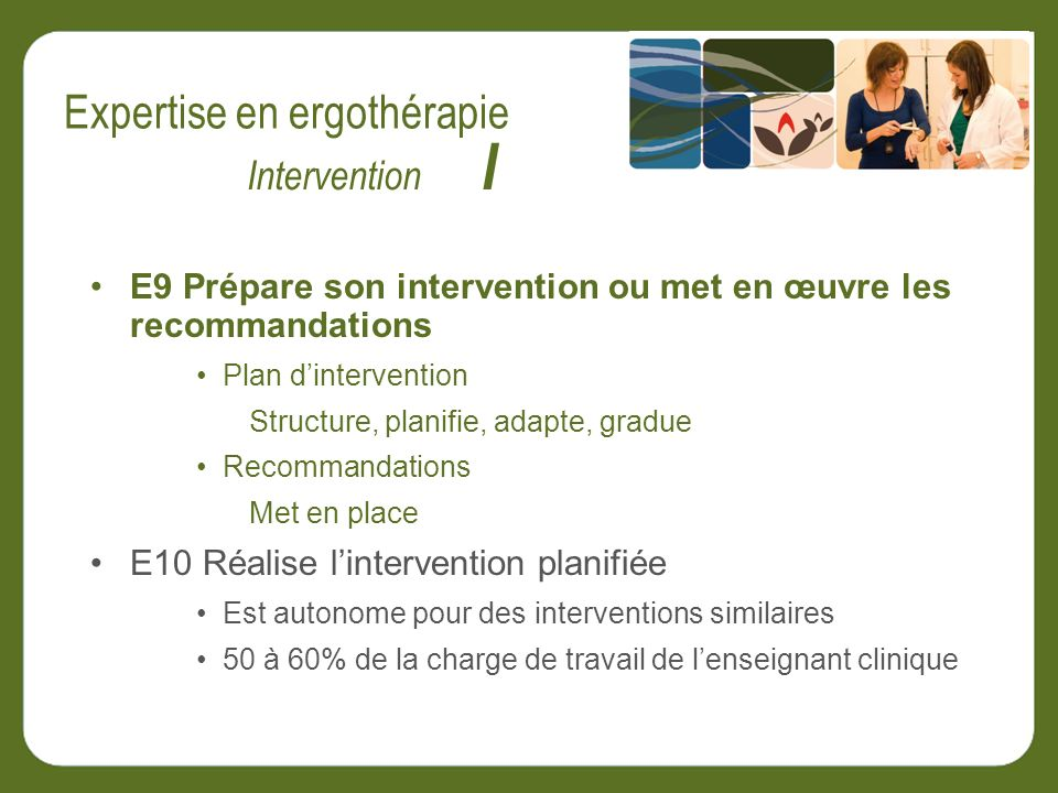 E9 Prépare son intervention ou met en œuvre les recommandations Plan dintervention Structure, planifie, adapte, gradue Recommandations Met en place E1