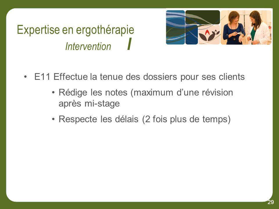 E11 Effectue la tenue des dossiers pour ses clients Rédige les notes (maximum dune révision après mi-stage Respecte les délais (2 fois plus de temps) 29 Intervention I
