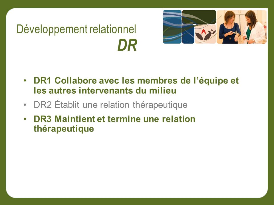DR1 Collabore avec les membres de léquipe et les autres intervenants du milieu DR2 Établit une relation thérapeutique DR3 Maintient et termine une relation thérapeutique DR