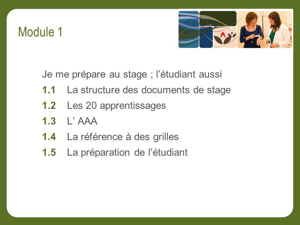 Je me prépare au stage ; létudiant aussi 1.1 La structure des documents de stage 1.2 Les 20 apprentissages 1.3 L AAA 1.4 La référence à des grilles 1.5 La préparation de létudiant