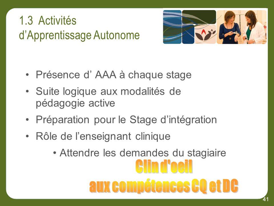 41 Présence d AAA à chaque stage Suite logique aux modalités de pédagogie active Préparation pour le Stage dintégration Rôle de lenseignant clinique Attendre les demandes du stagiaire
