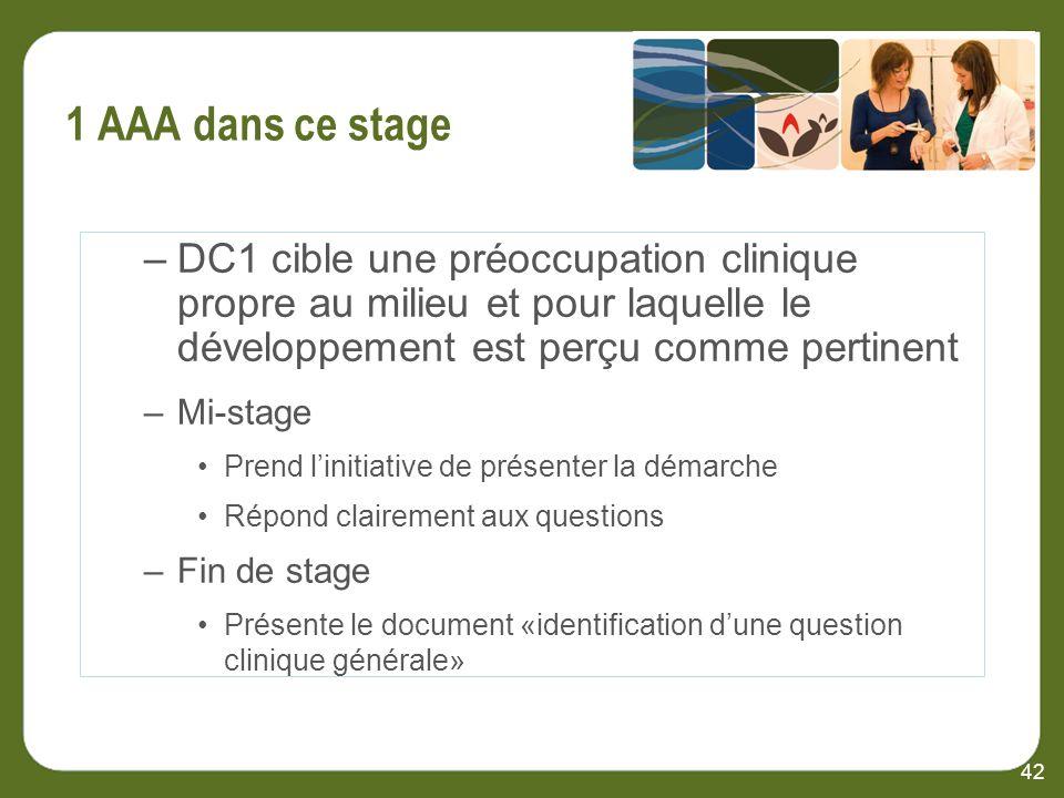 42 –DC1 cible une préoccupation clinique propre au milieu et pour laquelle le développement est perçu comme pertinent –Mi-stage Prend linitiative de présenter la démarche Répond clairement aux questions –Fin de stage Présente le document «identification dune question clinique générale»