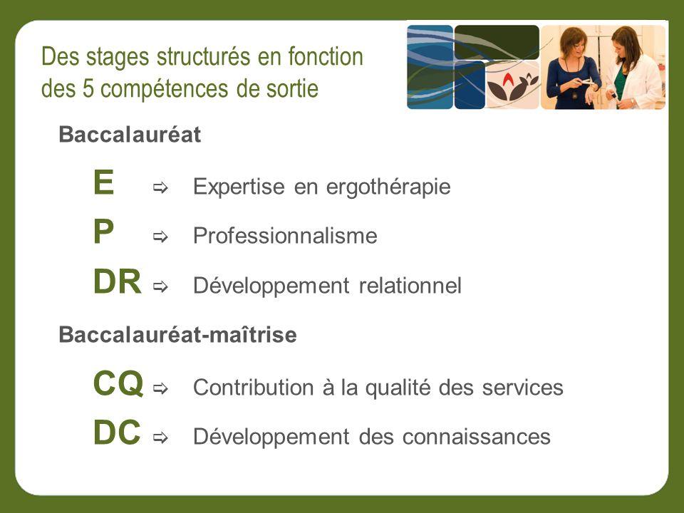 Baccalauréat E Expertise en ergothérapie P Professionnalisme DR Développement relationnel Baccalauréat-maîtrise CQ Contribution à la qualité des services DC Développement des connaissances