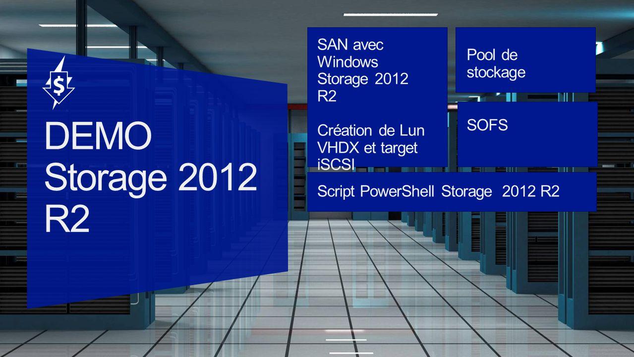 SAN avec Windows Storage 2012 R2 Création de Lun VHDX et target iSCSI Pool de stockage SOFS Script PowerShell Storage 2012 R2