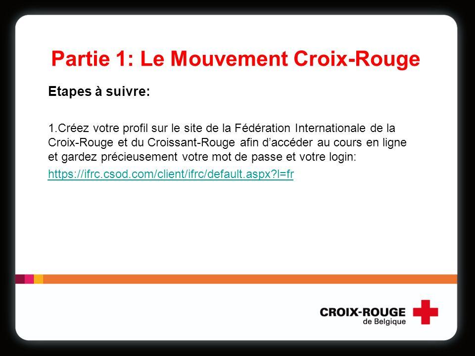 Partie 1: Le Mouvement Croix-Rouge Etapes à suivre: 1.Créez votre profil sur le site de la Fédération Internationale de la Croix-Rouge et du Croissant