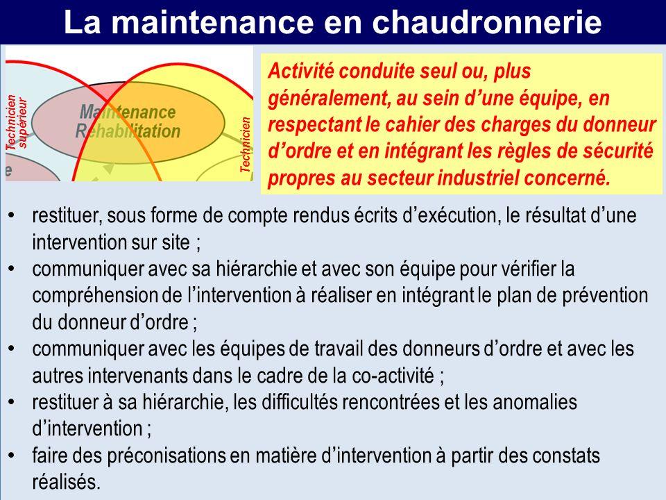 MR La maintenance en chaudronnerie restituer, sous forme de compte rendus écrits dexécution, le résultat dune intervention sur site ; communiquer avec